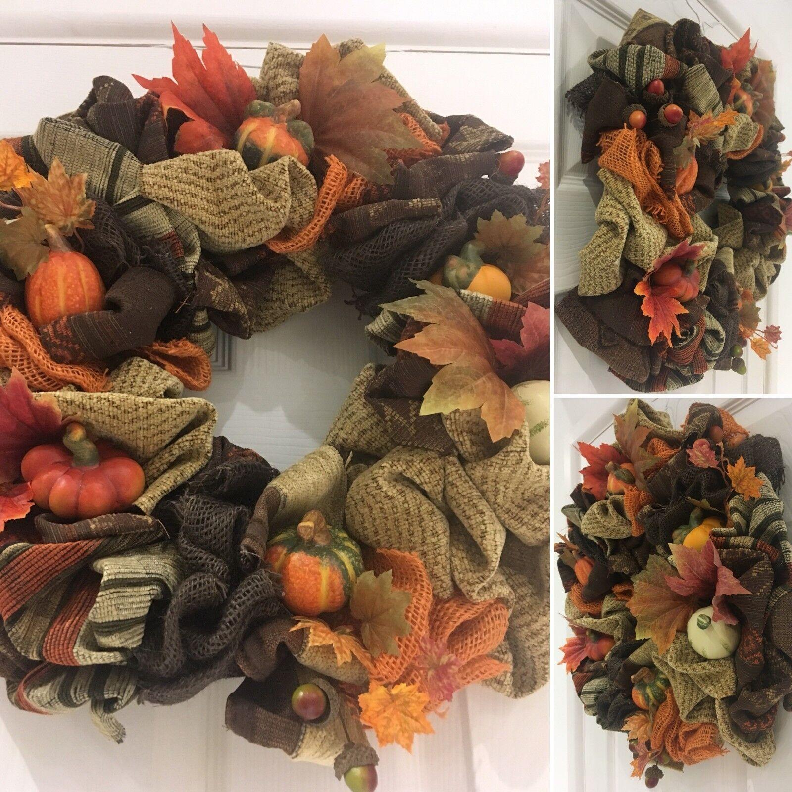 Halloween Thanksgiving Wreath Autumn Fall Harvest Festival Corduroy Pumpkins 14