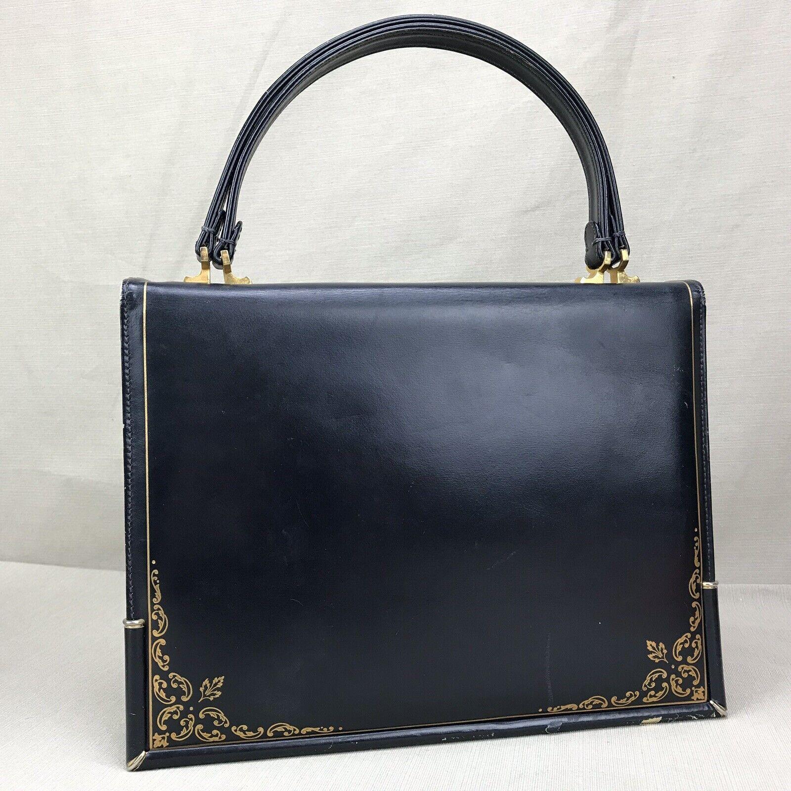 Scuola del Cuoio Vintage 1950s Purse Blue Gold Em… - image 2
