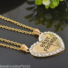 Damen Vergoldet Halskette Charm Herz Anhänger Strass BEST FRIENDS Modeschmuck