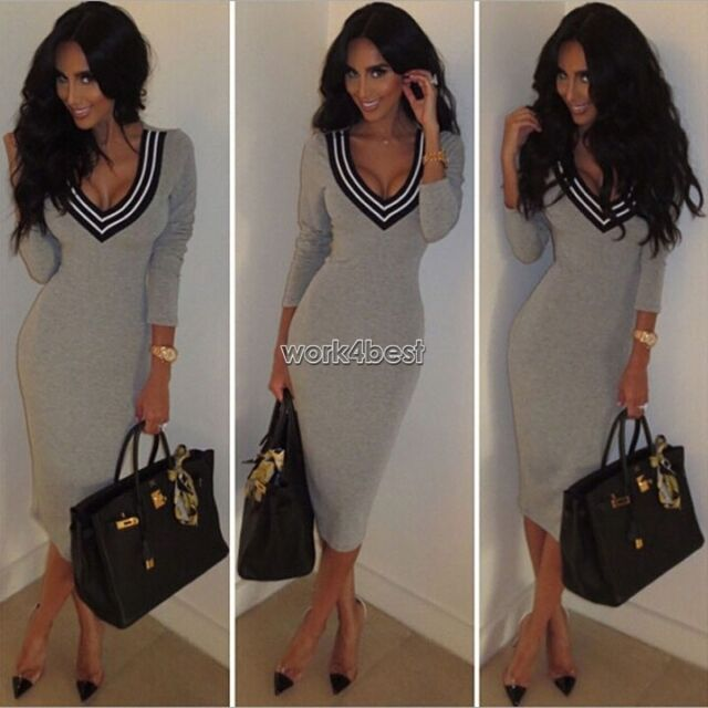 Long sleeve Deep V-neck Bodycon Sweater Party Casual Dress Autumn Winter Dresses