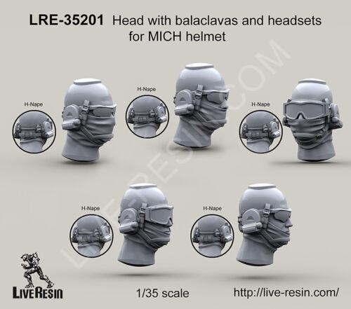 Live Resin 1//35 Heads w//Balaclavas /&Headsets for MICH Helmets H-Nape 5 Heads