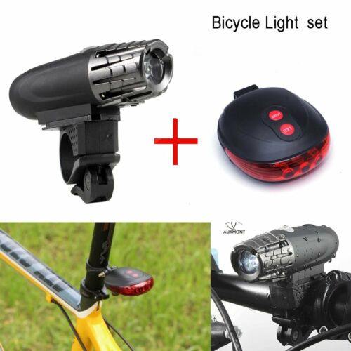 Bike Bicycle Front Light Headlight USB Rechargeable Cycling Rear Taillight Set