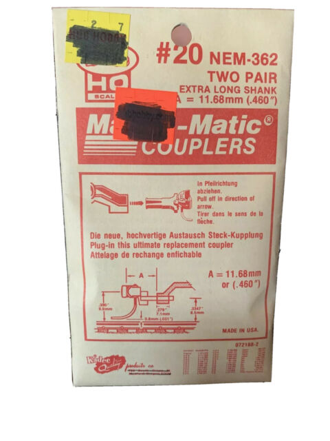 KADEE #20 HO NEM 362 EXTRA LONG PLUG IN MAGNE-MATIC KNUCKLE COUPLERS  2 PAIR