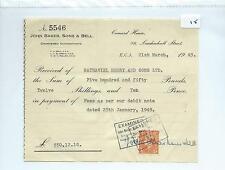 EPHEMERA -015- SMALL- JOHN BAKER, SONS & BELL,LONDON - ACCTS- RECEIPT - MAR 1949