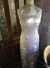 Unique Ivory Traditional Chinese Sleeveless Long Qipao/ Cheongsam Dress Size 36