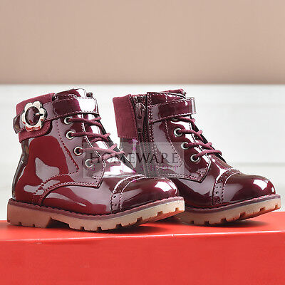 GIRLS INFANT PATENT BOOTS SPANISH STYLE WINTER RED BOOTS SIZE 6-12 NEW
