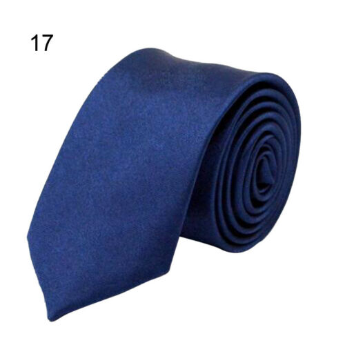 Classic Skinny Men/'s Slim Tie Solid Plain Silk Jacquard Woven Necktie 20 colors