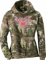 Cute Women's Pink Heart Wings Hoodie Camo Outdoor Camp Hike Hunt Realtree Max1