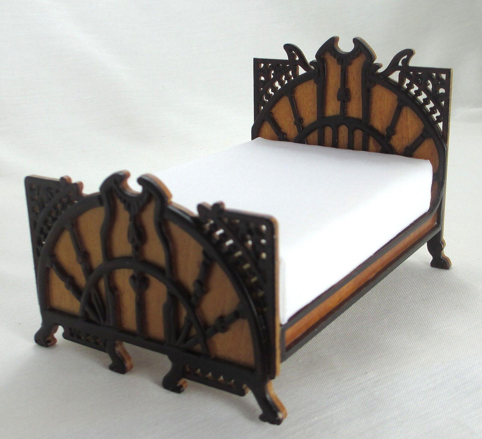 JBM Miniatures 12035WN bambolahouse Art Deco Bed -  Walnut - 1 12 Scale  in vendita scontato del 70%