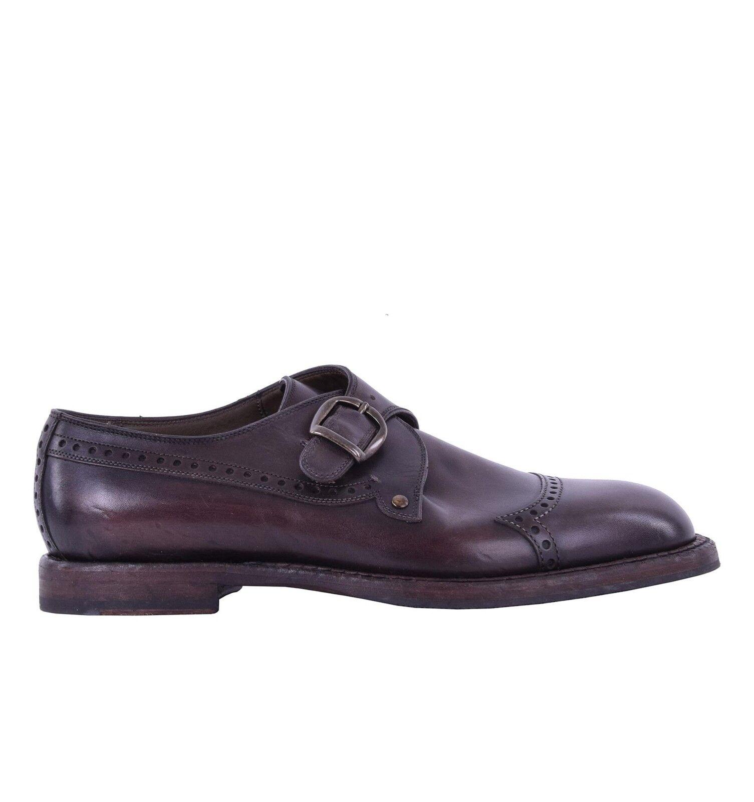 DOLCE & GABBANA Zweifarbige Derby Schuhe MARSALA mit Schnalle Braun Shoes 05085