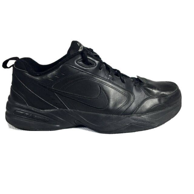 Nike Air Monarch IV Men's Size 15 Sneakers Triple Black Leather Shoes 415445-001