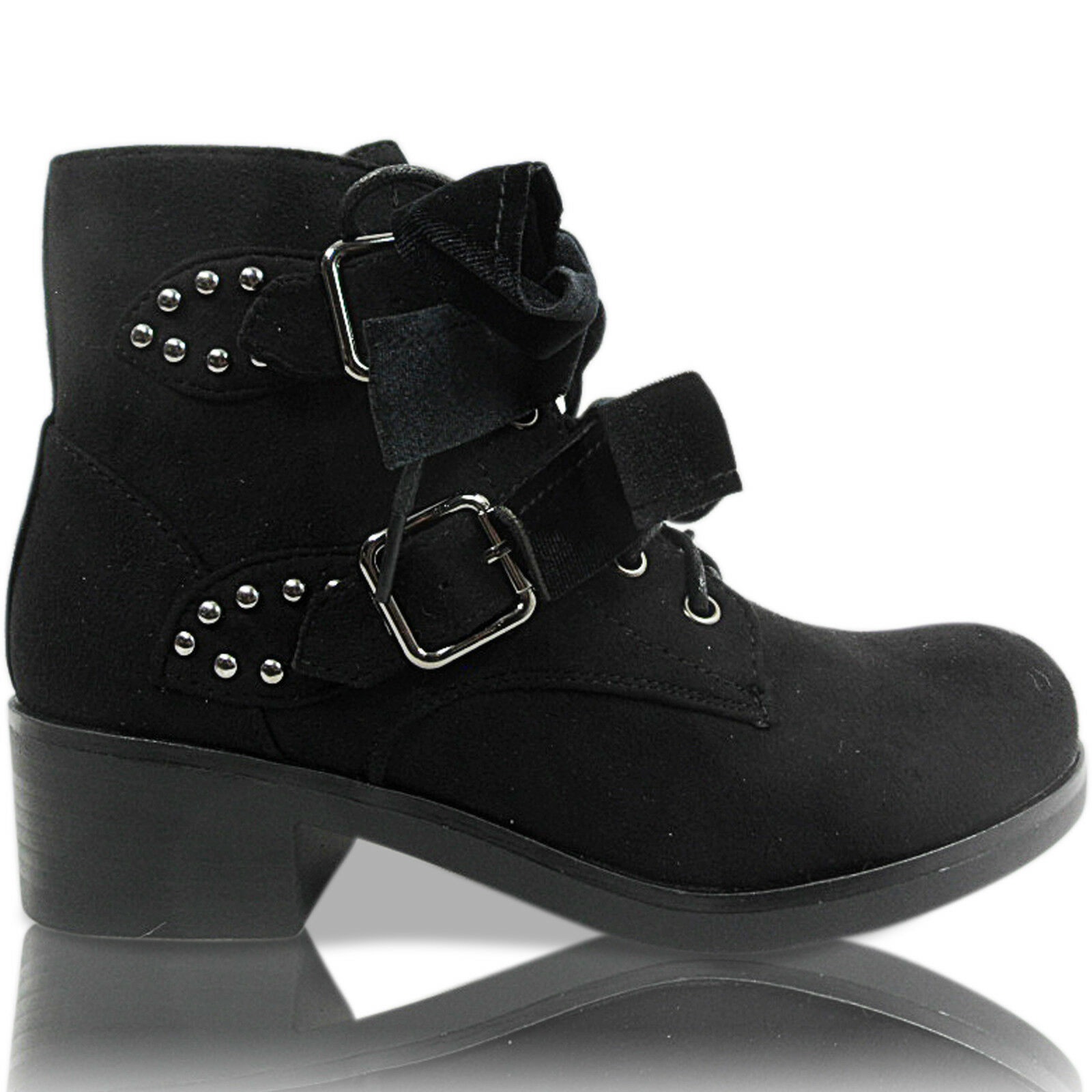WOMENS LADIES LOW HEEL BIKER CHELSEA COMBAT GOTH STUD LACE UP ANKLE BOOTS SIZE
