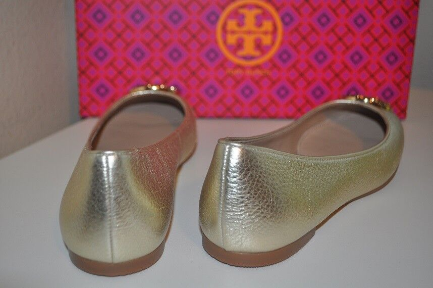 NEW Tory Burch CLAIRE Ballerina Ballet Flat shoes Metallic Spark Spark Spark gold Leather S 9 1b2abc