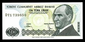 UNC 1970 children Turkey 10 Lira P-192 1979