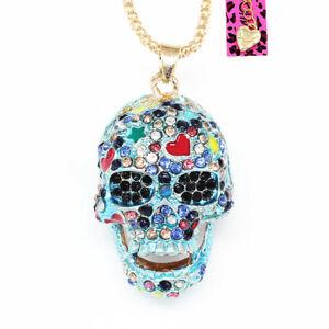 Colorful-Enamel-Crystal-Sugar-Skull-Pendant-Chain-Betsey-Johnson-Necklace-Gift
