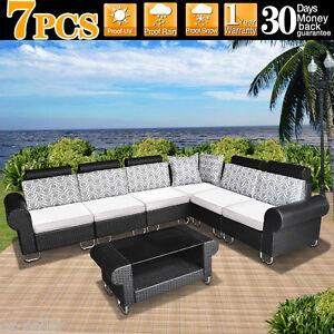 Wicker Rattan Garden Couch Set Indoor Outdoor Furniture Height Adjustable EBay