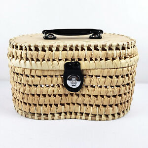 Vintage Natural Straw Rattan Wicker & Wood Cosmetic Bag Purse Basket Case