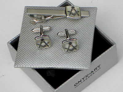 """MASON'S """"Mother of Pearl"""" METAL CUFF LINKS & MATCHING TIE BAR SET in a GIFT BOX"""
