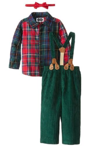 Mud Pie Holiday Best Plaid Pant Set with Suspenders and Bow Tie
