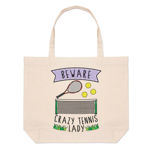 Funny Sport Beware Crazy Tennis Lady Large Beach Tote Bag