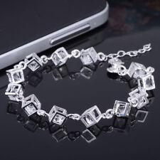 New Silver Charm Cube Crystal Bracelet Bangle Jewelry Christmas Family Gift UK