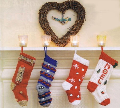 KNITTING Pattern-Family Christmas Stockings 4 designs on 1 pattern to knit