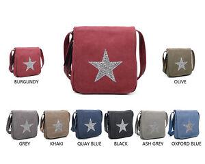 Ladies Sparkling Star Canvas Shoulder Bag Womens Crossbody Messenger Handbag