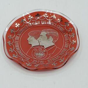 Prince-Charles-amp-Diana-Royal-Wedding-Souvenir-Dish-Ashtray-Red-Vintage-England