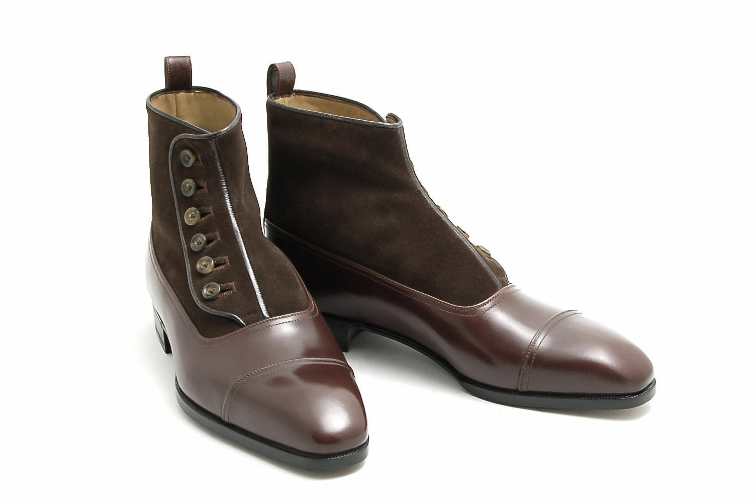 Handmade Men Brown Suede and Leather Button Boots, Mens fashion button boots
