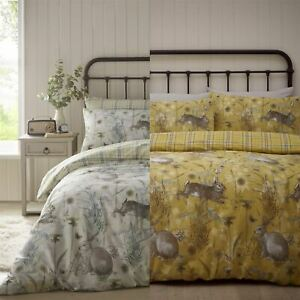 Rabbit-Meadow-Animals-Reversible-Check-Tartan-Duvet-Cover-Bedding-Bed-Set