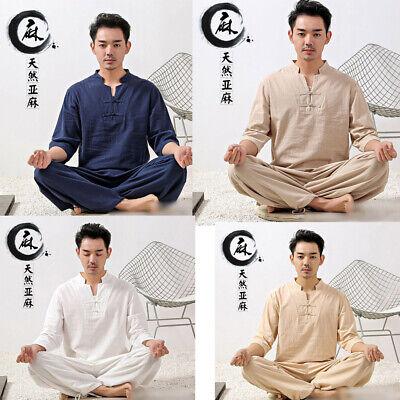 Mens Chinese Tang Suit Martial Arts Uniform Shirt+pants Kung Fu Taichi Costume