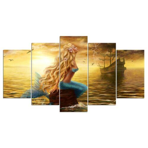 Gold Mermaid Ship Sea 5 piece HD Art Poster Wall Home Decor Canvas Print