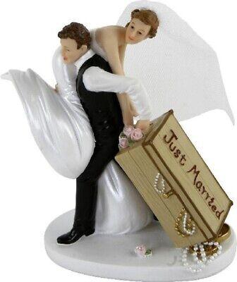 Willensstark Brautpaar Hochzeitspaar Tortenaufsatz Tortenfigur Cake Topper Koffer 13 Cm - Mt Offensichtlicher Effekt