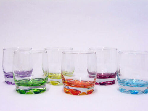 6 Pc Modern Coloured Tumbler Glass Set Beer Bar Jack Shot Rock Scotch Whiskey