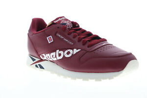 Reebok-Classic-Leather-MU-DV5018-Mens-Red-Lace-Up-Low-Top-Sneakers-Shoes-10-5