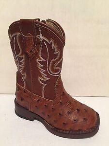 dd954040c3e Details about Roper Western Boots TODDLER Faux Ostrich Brown  09-017-1900-0807 SZ 5 T INFANTS