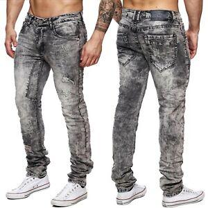 Hommes-Jeansnet-denim-gris-detruit-fusele-slim-dechire-style-vintage