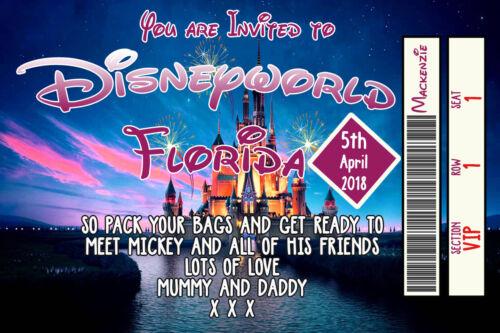 Personalised Disney Ticket Style Disneyland Florida Invites inc Envelopes A12