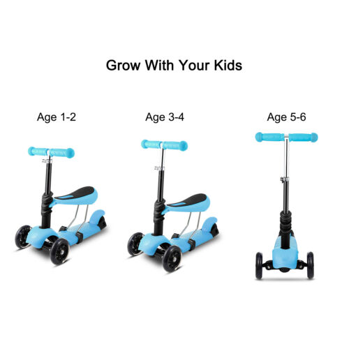 New Mini Toddler Kick 3 in 1 Kids Scooter Flashing Wheel Adjustable T Bar Gift