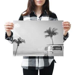 A3-Cool-Camper-Van-Surf-Surf-Travel-Poster-42X29-7cm280gsm-BW-41076