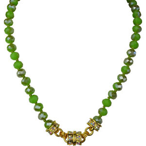 Kirks-Folly-Opal-Jade-Color-Beaded-Magnetic-Necklace-Goldtone-w-KF-Gift-Box