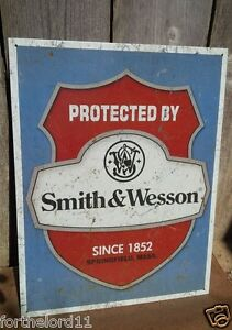 PROTECTED BY SMITH & WESSON Tin Metal Sign Wall Bar Decorative Garage Classic