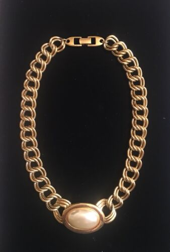 Vintage Napier Chunky Faux Gold And Pearl Necklace