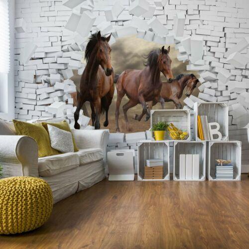 Tapete Fototapete Papier  3D Pferde Springen Durch Das Loch In Mauer