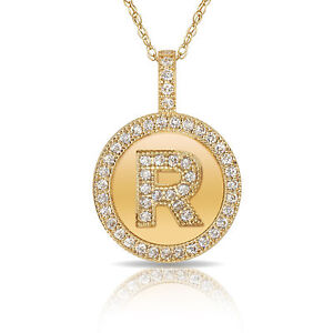 """14K Solid Yellow Gold Round Circle Initial /""""M/"""" Letter Charm Pendant Necklace"""