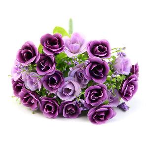 Hot-21-Head-Artifical-Plastic-Rose-Silk-Flower-Wedding-Bouquet-Party-Home-Decor