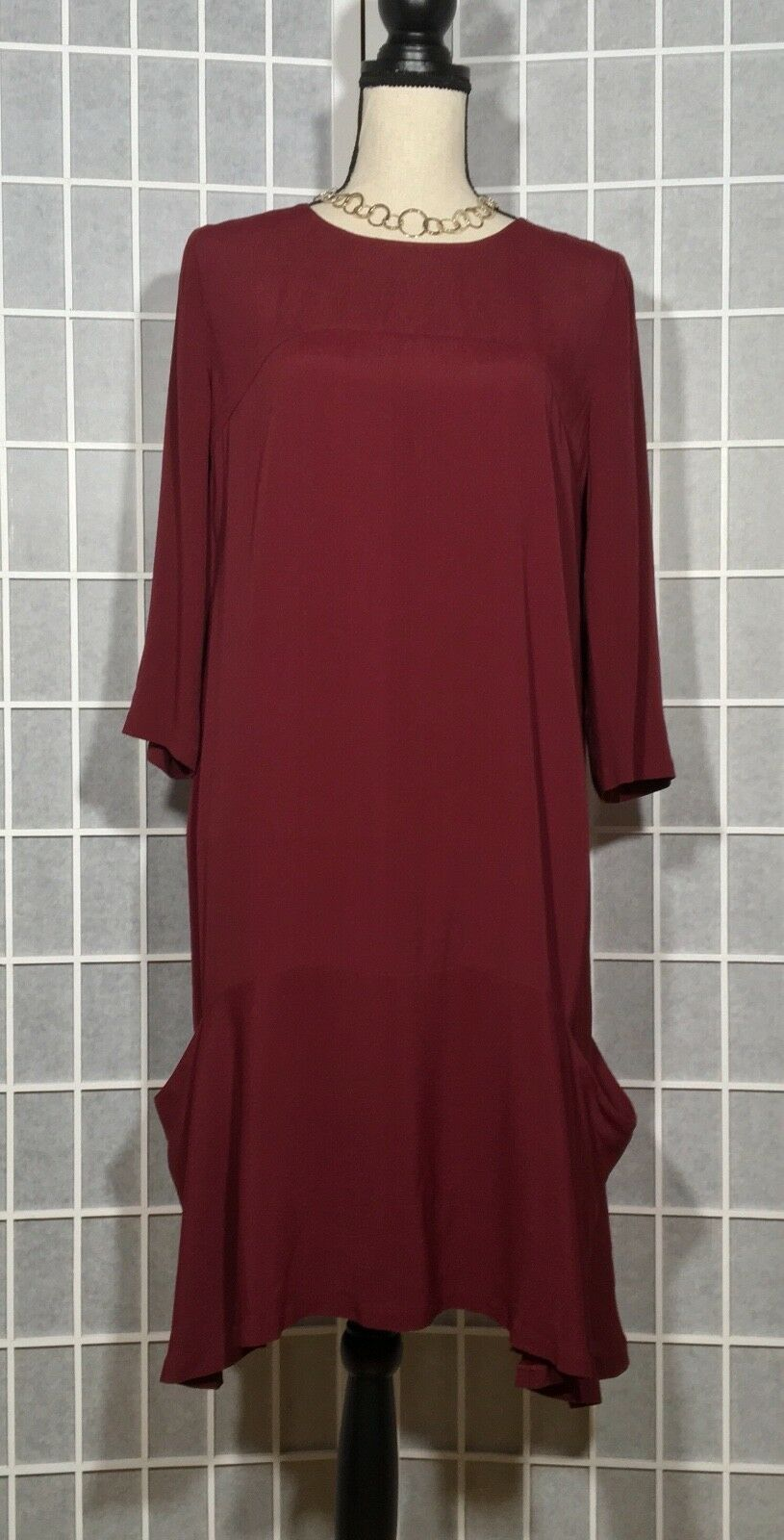 GARNET HILL WOMEN'S DRESS MEDIUM HIGH LOW HEM 1 2 SLEEVES BURGUNDY ANY OCCASION