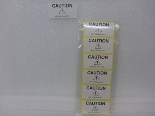 """100 x Caution /""""May Contain NUTS/"""" Sticky Allergy Warning Labels 50mm x 25mm WHITE"""