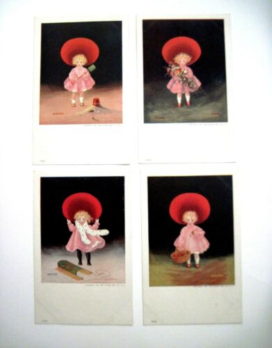 Precious Set of 4 1906 Postcards of Girl In Red Hat Pictured In All Seasons