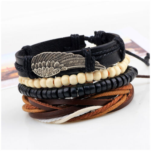 Angel Wing and Tribal Wood Beads Leather Men Women Wristband Bracelet 4pcs Set